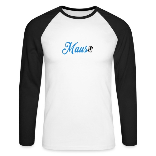 Hoesje MAUS 8Bit Blauw - Mannen baseballshirt lange mouw