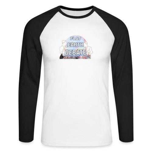 Flat Earth Debate Cartoon - Men's Long Sleeve Baseball T-Shirt