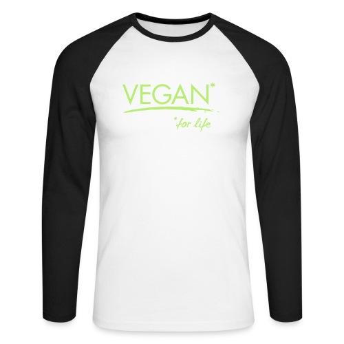 vegan for life 1c - Männer Baseballshirt langarm