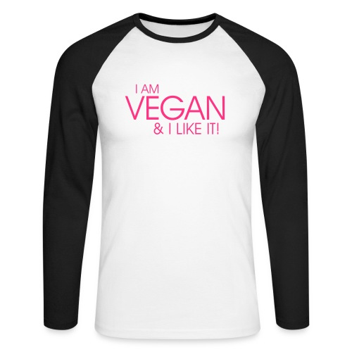 I am vegan and I like it - Männer Baseballshirt langarm