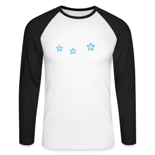 white and blue floral print - Koszulka męska bejsbolowa z długim rękawem