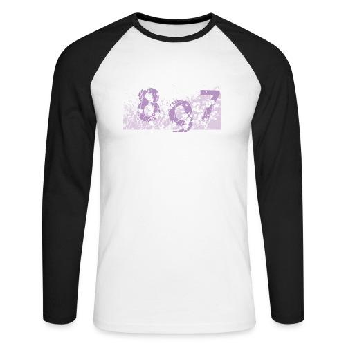 pink digital theme 897 - Koszulka męska bejsbolowa z długim rękawem