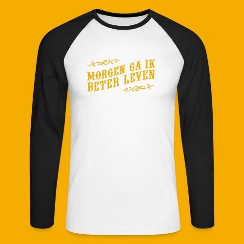 tshirt yllw 01 - Mannen baseballshirt lange mouw