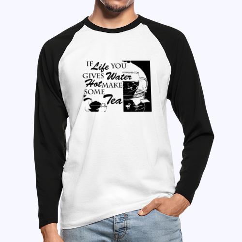 TeaTime black - Männer Baseballshirt langarm