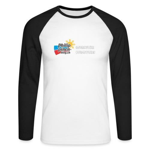 Philippinen-Blog Logo english schwarz/weiss - Männer Baseballshirt langarm