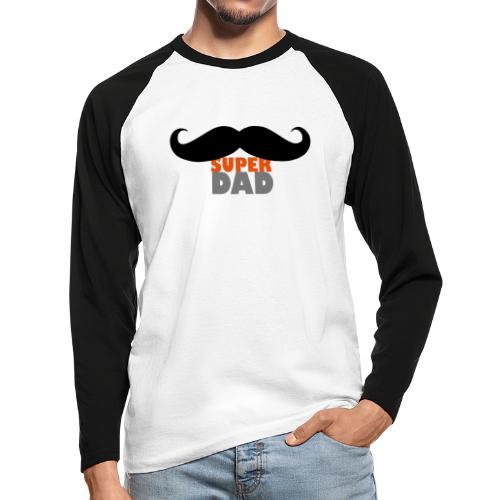 superdad moustache - Männer Baseballshirt langarm