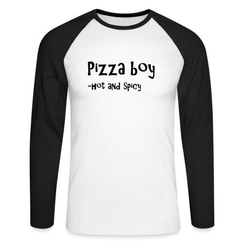 Pizza boy - Langermet baseball-skjorte for menn