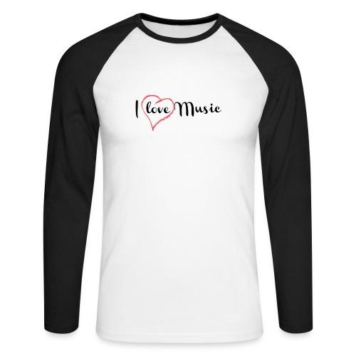 I Love Music - Maglia da baseball a manica lunga da uomo