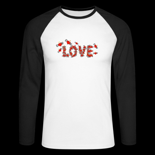 Flying Hearts LOVE - Men's Long Sleeve Baseball T-Shirt