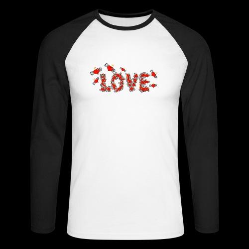 Latające miłości serc - Koszulka męska bejsbolowa z długim rękawem