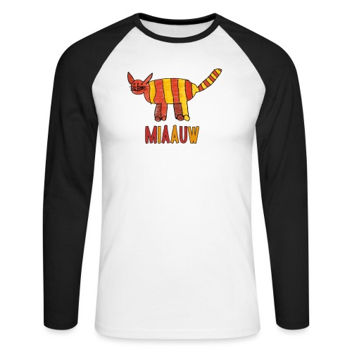 miaauw poesje - Mannen baseballshirt lange mouw