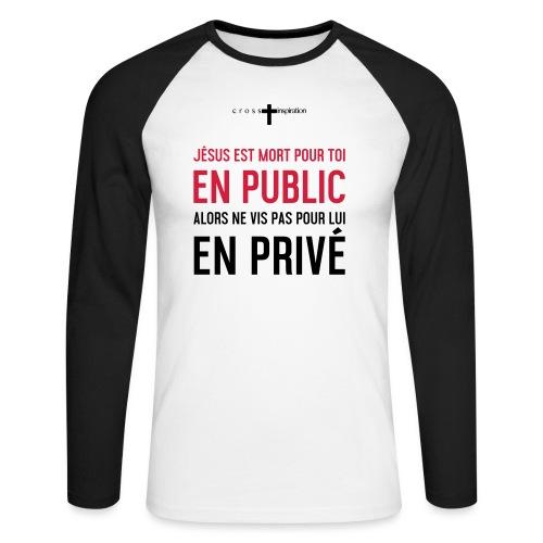 Public ou privé - T-shirt baseball manches longues Homme