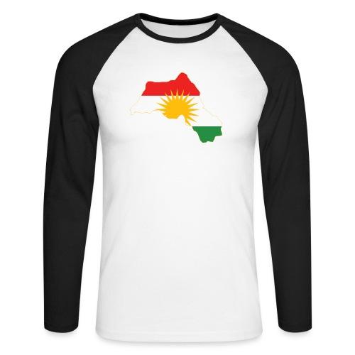 Kurdistan Flag Map - Männer Baseballshirt langarm