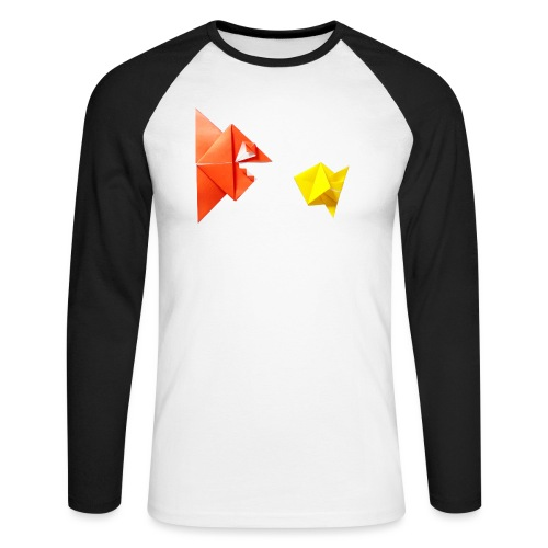 Origami Piranha and Fish - Fish - Pesce - Peixe - Men's Long Sleeve Baseball T-Shirt