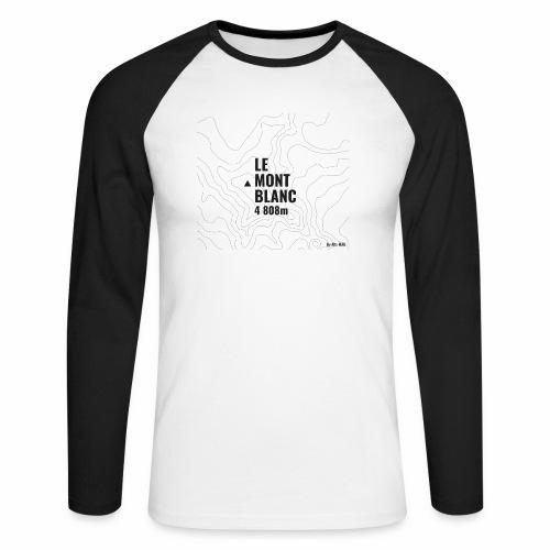 Mont Blanc et courbes de niveau - T-shirt baseball manches longues Homme