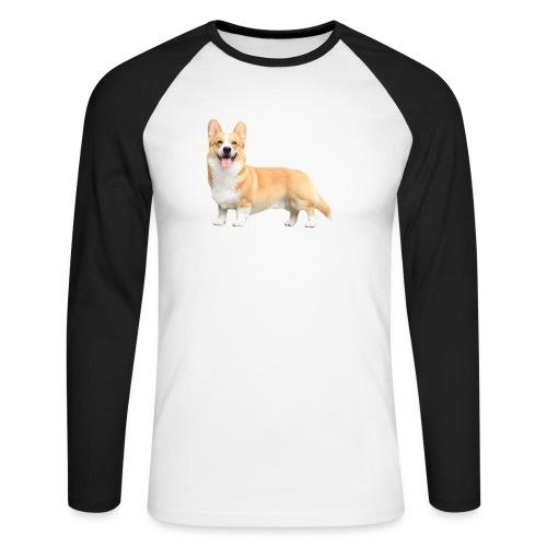 Topi the Corgi - White text - Men's Long Sleeve Baseball T-Shirt