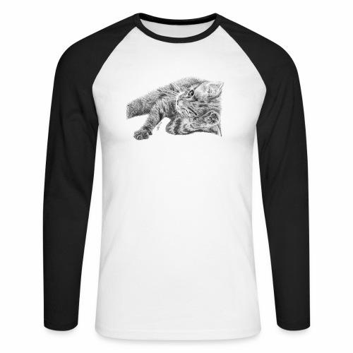 Small kitten in gray pencil - Men's Long Sleeve Baseball T-Shirt