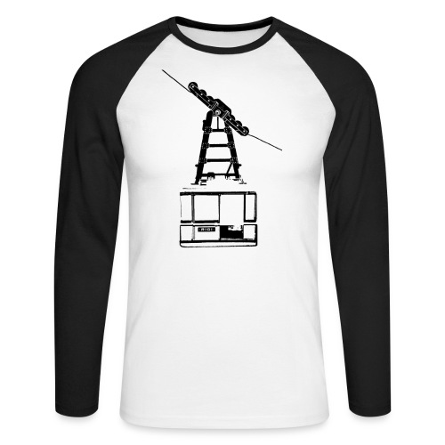 murpworks cableCar black tshirt png - Men's Long Sleeve Baseball T-Shirt
