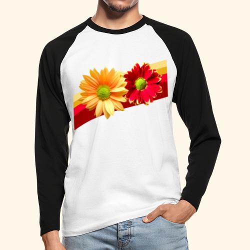 Blumen in den Farben rot und gelb, Blüten, floral - Männer Baseballshirt langarm