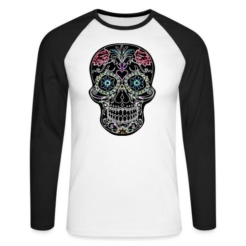 Floral Skull - Men's Long Sleeve Baseball T-Shirt