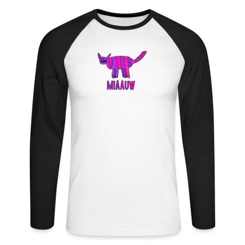 miaauw, paarse poes - Mannen baseballshirt lange mouw