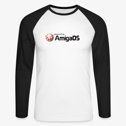 PoweredByAmigaOS Black - Men's Long Sleeve Baseball T-Shirt