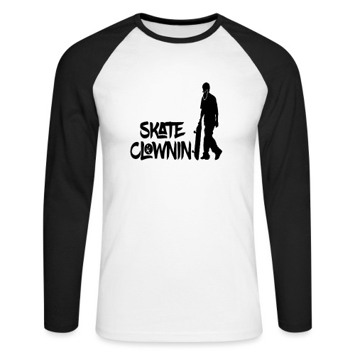 Skateclowninallblackno bg gif - Men's Long Sleeve Baseball T-Shirt