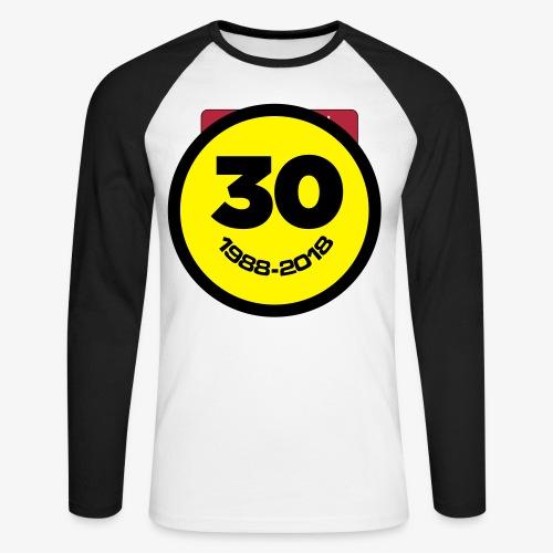 30 Jaar Belgian New Beat Smiley - Mannen baseballshirt lange mouw
