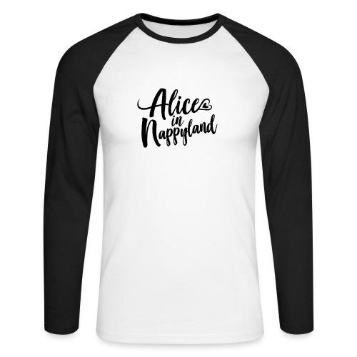 Alice in Nappyland Typography Black 1080 1 - Men's Long Sleeve Baseball T-Shirt
