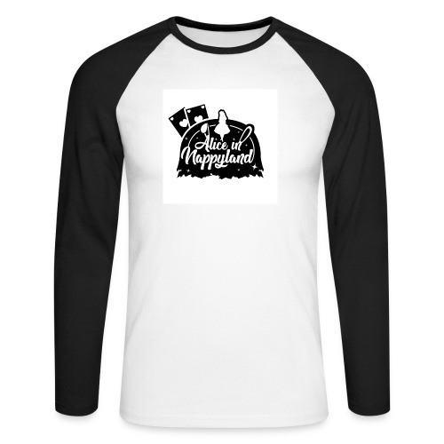 Alice in Nappyland TypographyWhite with background - Men's Long Sleeve Baseball T-Shirt