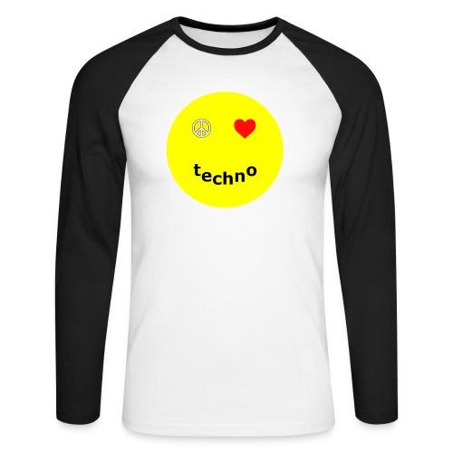 camiseta paz amor techno - Raglán manga larga hombre