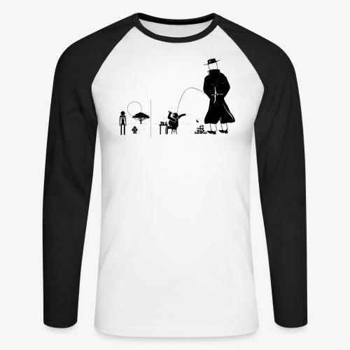 Pissing Man against a wasteful consumer society - Männer Baseballshirt langarm
