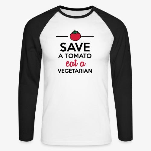 Tomaten & Gemüse - Save a Tomato eat a Vegetarian - Männer Baseballshirt langarm
