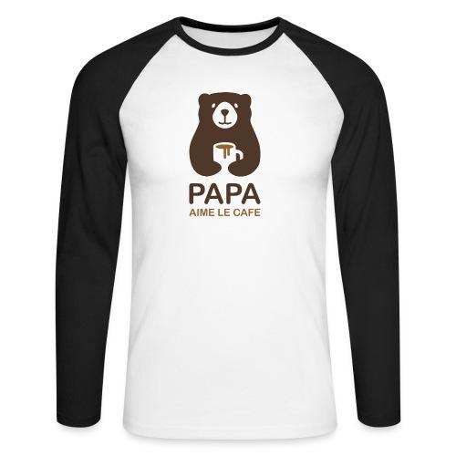 Papa aime le café - T-shirt baseball manches longues Homme