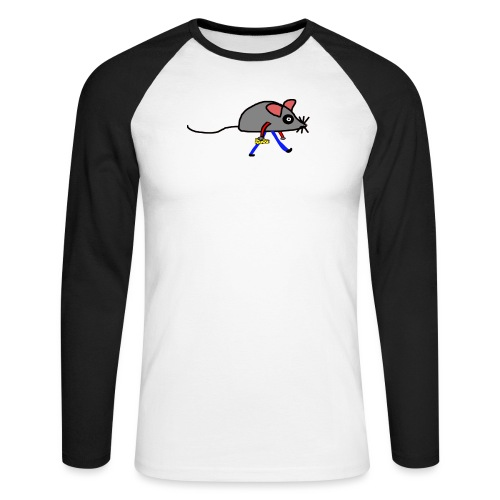 Maus mit Käse Lustiges Motiv - Männer Baseballshirt langarm