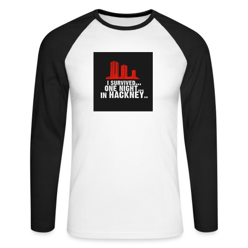 i survived one night in hackney badge - Men's Long Sleeve Baseball T-Shirt