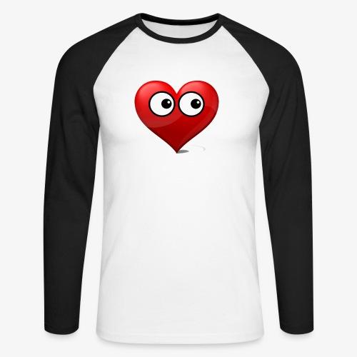 cœur avec yeux - T-shirt baseball manches longues Homme