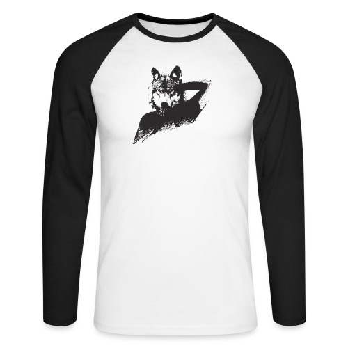illustration zoom loup noir - T-shirt baseball manches longues Homme