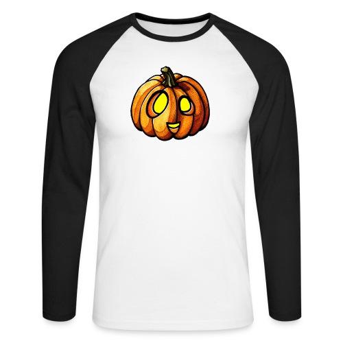 Pumpkin Halloween watercolor scribblesirii - Miesten pitkähihainen baseballpaita