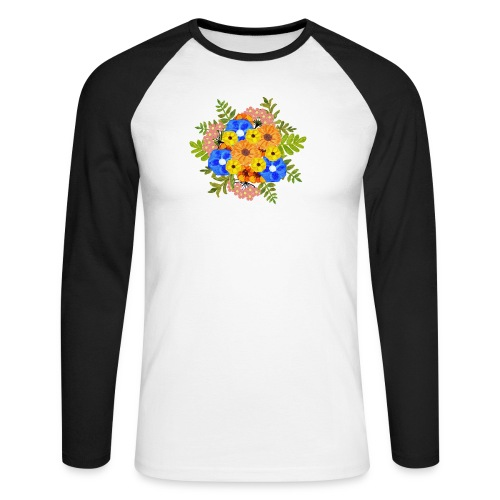 Blue Flower Arragement - Men's Long Sleeve Baseball T-Shirt