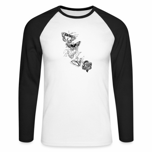 Black and White Butterflies and Rose - Maglia da baseball a manica lunga da uomo