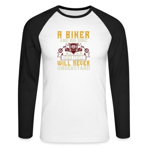 A biker and his bike. - Men's Long Sleeve Baseball T-Shirt
