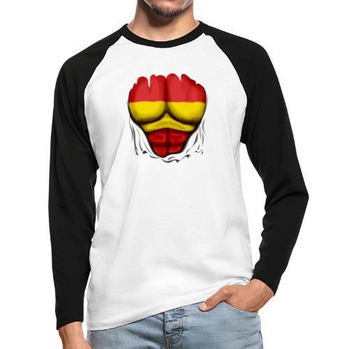 España Flag Ripped Muscles six pack chest t-shirt - Men's Long Sleeve Baseball T-Shirt