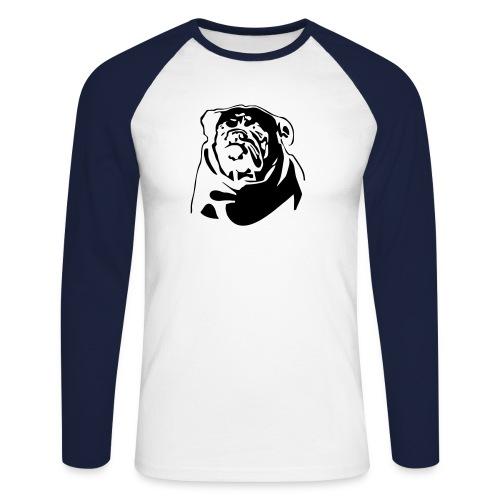 English Bulldog - negative - Miesten pitkähihainen baseballpaita