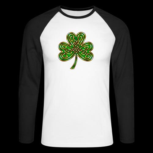Celtic Knotwork Shamrock - Men's Long Sleeve Baseball T-Shirt