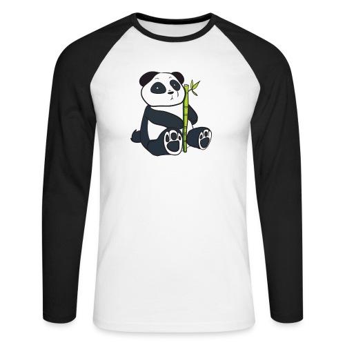 Oso Panda con Bamboo - Raglán manga larga hombre