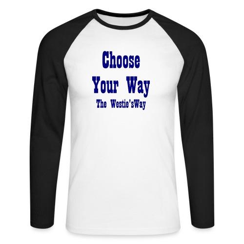 Choose Your Way Navy - Koszulka męska bejsbolowa z długim rękawem
