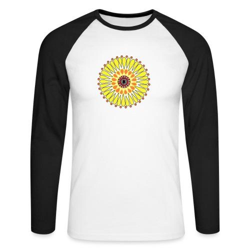 Yellow Sunflower Mandala - Men's Long Sleeve Baseball T-Shirt