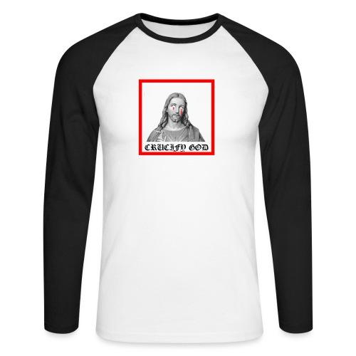 Crucify God | Sad Jesus - Miesten pitkähihainen baseballpaita