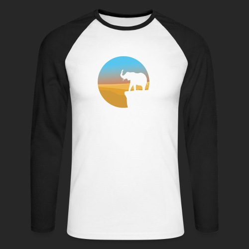 Sunset Elephant - Men's Long Sleeve Baseball T-Shirt